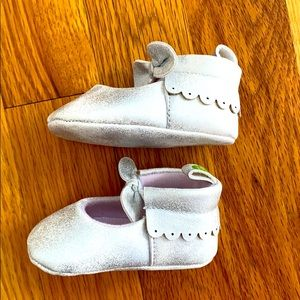 First Steps Silver Baby Shoes